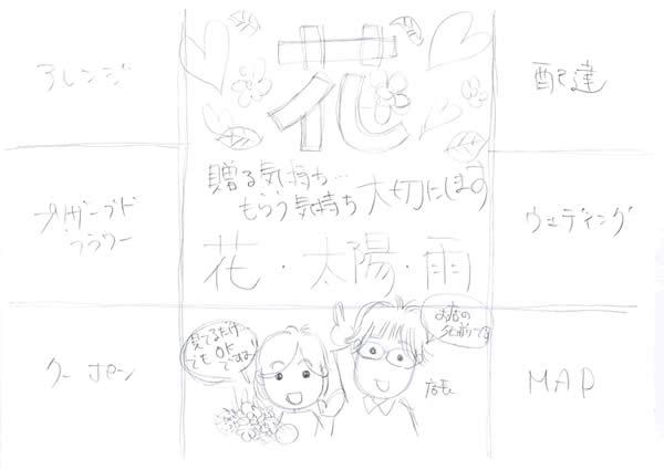 花屋「花・太陽・雨」の手描きチラシ作成(1)