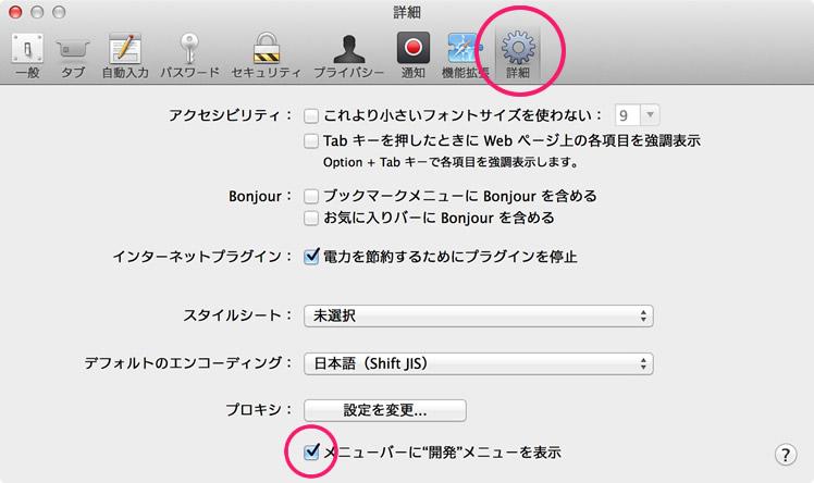 Safariの開発ツールの設定